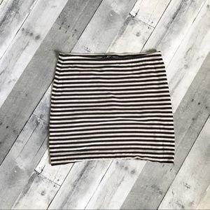 H&M Black and Tan Striped Mini Skirt